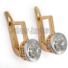 Russian style Malinka Diamond Earrings 14K (585) Rose & white Gold G-VS2 #E1014