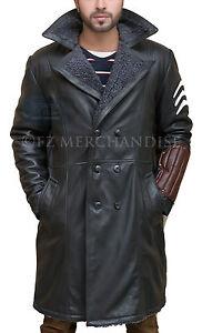 Men Winter Warm Fur Fleece Leather Jacket Trench Coat Parka Outwear Overcoat