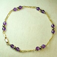 14k solid y/gold 4.2mm natural Amethyst bracelet 7 3/4'' lobster clasp 2.2 gram
