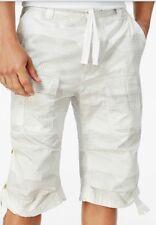Sean John Cargo Shorts Mens White Print Longer Lenght Light Weight Size 36 NWT