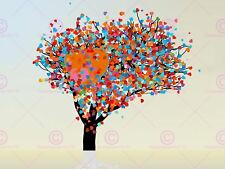 PAINTING ABSTRACT TREE LOVE HEART LEAVES ART PRINT POSTER MP3036A