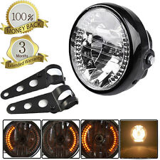 "Universal 7"" Headlight Amber LED For Chopper Custom Cafe Racer Bobber +Bracket"