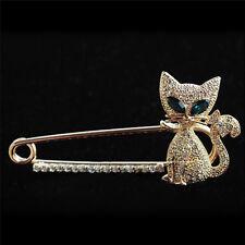 Broche para las mujeres animales de ojos verdes de cristal gato broche PIN