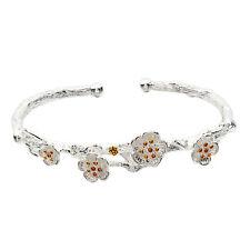 Hot 925 Silver Plated Fashion Elegant Branch Plum Blossom Charm Bracelet Bangle