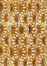 Mooshka Brown Orange Floral Fans Quilt Fabric - 1 Yard