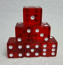 Dice Koplow 19mm *6/Set* Transparent Red with White Pips - Squared Larger Size