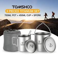 TOMSHOO Titanium 3 Pieces Camping Cookware Pot+Water Cup Mug+Folding Spork X7C6