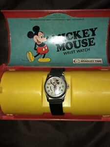 Vintage Bradley Time Mickey Mouse Watch In Case !!Works!!