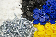 24 NUMBER PLATE CAR FIXING FITTING KIT SCREWS & CAPS WHITE YELLOW BLACK BLUE CAP