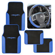 2Tone Carpet/Vinyl Floor Mats for Car SUV Van Blue/Black w/ Steering Wheel Cover