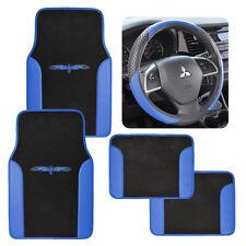 2Tone Carpet/Vinyl Floor Mats for Car SUV Van Blue/Black w/ Steering Wheel Cover