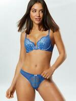 NEW! Ann Summers EFFORTLESS GAMOUR Plunge BRA + THONG, Blue *NEW* RRP£21