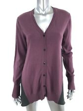 LOGO XS Cardigan Sweater Purple Gray Lightweight Long Sleeve Sharkbite Hem