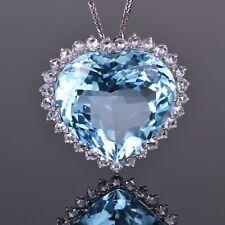 Heart Aquamarine and Diamond Pendant in 18K White Gold