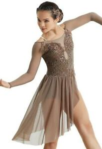 Dance Costume Small Adult Mocha Brown Taupe Lyrical Contemporary Solo