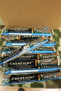 "6"" Blue Cyalume ChemLight Tactical Light sticks 8 Hours Box of 10 Mil Issued"