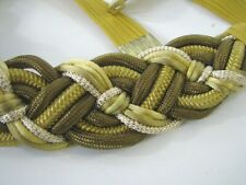Braided Cord Vintage Cummerbund Style Belt Stretch Ends Gold/Brown Mixed Color