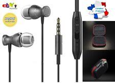 Ecouteurs Gris/Noir Magnétiques Universel + Boite - Samsung Stéréo Apple Iphone
