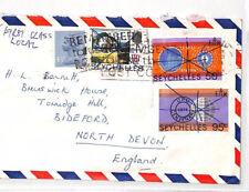 XX34 1970s SEYCHELLES RE-USED GB 4.5p MACHIN Local Bideford Devon Cover