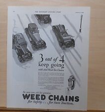 1929 magazine ad for Weed Tire Chains - Vintage cars in the snow keep going