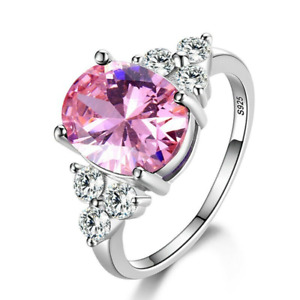 Women's Jewelry Plated 925 Silver Zircon Oval Ring Fashion Wedding Jewelry Party