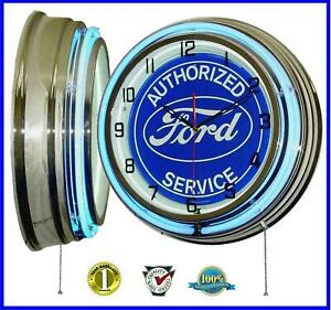 """18"""" FORD Blue Oval Authorized Service Sign Double Neon Clock Garage Man Cave"""