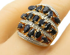 18K Gold & 925 Silver - Vintage Navy Sapphire Cocktail Ring Sz 7.25 - R3602