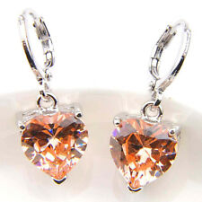 Factory Low Price Love Heart Natural Morganite Gems Silver Dangle Earrings