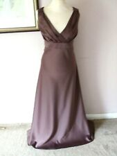 FAB CINNABAR MINK BROWN SATIN MAXI EVENING DRESS - Size 16