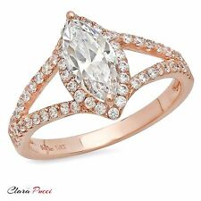1.35 CT Marquise Cut Wedding Engagement Bridal Ring band Solid14k Rose Gold