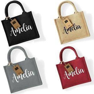 Named Gift Bag/Lunch Bag Westford Mill Mini Jute Bag/Lunch/Work Gift Bag/Present