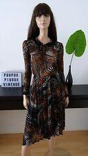 Robe vintage plissée noire/marron/blanc - volants dentelle noire taille 38