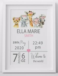 Personalised New Baby Gift Christening Boy Girl Birth Details Stats Picture Mum