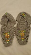 Handmade crochet Women Unique Socks Slippers Patik Shoe Size 5 6 sequined gray