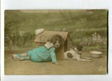 New listing 3116219 Jack Russell Terrier & Lovely Girl vintage Photo tinted