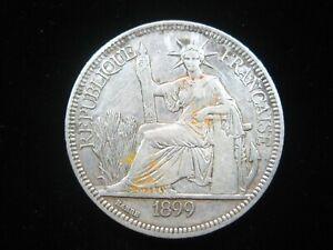 FRENCH INDOCHINA 1 PIASTRE 1899 SILVER VIETNAM LAOS CAMBODIA 38# MONEY COIN