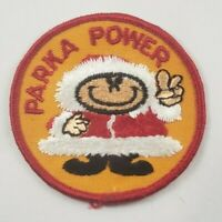 """Vintage Parka Power 1960/70's 3"""" Hat Jacket Patch Winter Snowmobile Humor"""