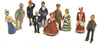 10 Standing Victorian Edwardian UNPAINTED OO Scale Langley Models Kit Figures