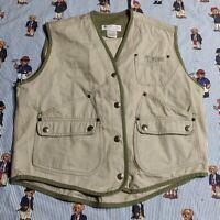 Columbia WOMEN'S MEDIUM Fishing Vest Snaps 5-Pockets Tan Olive Canvas cotton