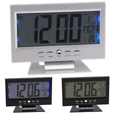 Voice Control Battery Digital Alarm Clocks Led Display Backlight Calendar Snooze