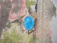 Vintage Catholic Medal Sacred Heart Jesus w/ turquoise blue enamel silver finish