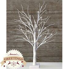 NEW Snowy White Christmas Twig Tree Sparkle Glitter Table Top 24 LED 70 cm