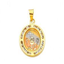 "14K Solid Gold ""Communion"" CZ Religious Oval Charm Pendant, 20MM"