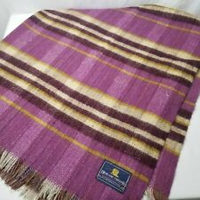 Highland Tweeds Wool Throw Picnic Stadium Blanket 56 x 66 Purple Gold UK
