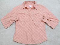 Ann Taylor Loft Orange Dress Shirt 8 Eight Long Sleeve Button Front Top 2 Pocket