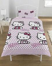 Hello Kitty Rosa Pois Singolo Copri Piumone Ragazza Biancheria Da Letto Per Bambini Carattere