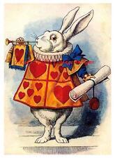 Alice In Wonderland White Rabbit Hearts Sounding Trumpet 5x7 Inch Fabric Block