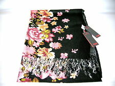 Großer Schal Soft Acrylic ca. 70 x 190cm Schwarz Blumen  Neu OVP