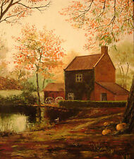 5x7  HALLOWEEN PRINT OF PAINTING PUMPKIN  RYTA AUTUMN MILL BARN VINTAGE STYLE