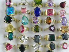 Wholesale lots 20pcs Big imitate CZ Colorful Gold P Rings jewelry Lots